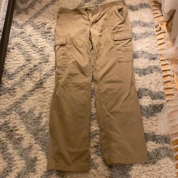 Men's tan cargo pants from Eddie Bauer. 36 / 36